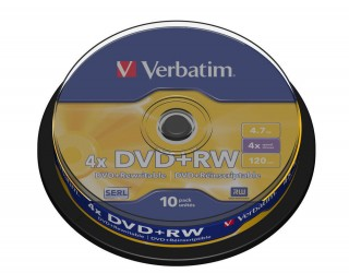 Verbatim DVD+RW 4X 4,7GB (43488), set/10 bucati spindle