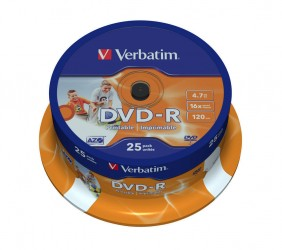 Verbatim DVD-R 16x 4,7GB wide inkjet printable, AZO ( 43538), set/25 bucati spindle