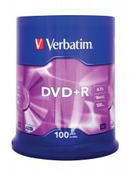 Verbatim DVD+R 16X 4,7GB AZO Matt Silver ( 43551), set/100 bucati spindle