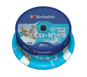 Verbatim CD-R 52X 700Mb AZO Wide Inkjet Printable ( 43439), 25/spindle