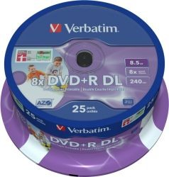 Verbatim DVD+R 8x DL (Dual Layer) 8.5Gb inkjet Printable (43667), spindle/25 bucati