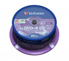 Verbatim DVD+R 8x DL (Dual Layer) 8.5 Gb ( 43757), set/25 bucati spindle