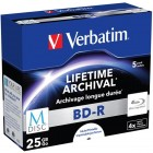 Verbatim M-Disc BD-R 25Gb Inkjet Printable, 4x, Jewel Case (43823), multiplu/5